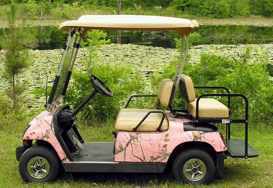 Real tree pink Golf car wrap