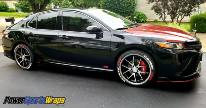 Deep Red Black Carbon Fiber cast wrapping film for automotive -marine applications