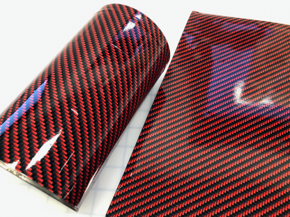 Deep-red-carbon-fiber vinyl wrap with gloss finish