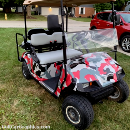 Do It Yourself camo wrap kit Red-Gray Urban for golf cars.