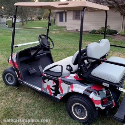 DIY Red-Gray Urban Camo wrap for golf cars