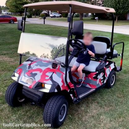 Golf Cart Camo wrap kit Urban Camo Red-Gray
