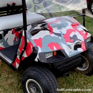 Red-Gray Urban Camo wrap for golf cars