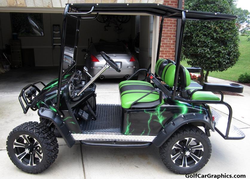 lightning-green DIY golf car wrap