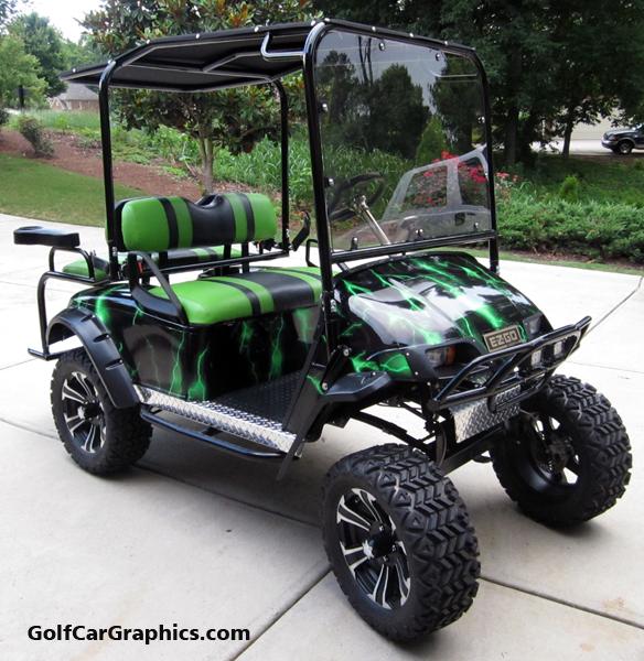 lightning-green golf car body wra