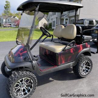 golf cart wrap Lightning-Red-full body