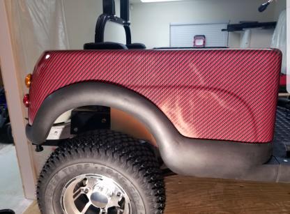 Deep-Red-Black-carbon-fiber-golf cart wrap kit