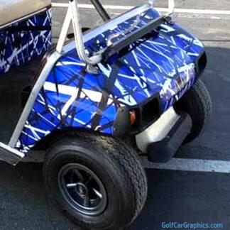 Confusion Blue White Black full body golf car wrap kit
