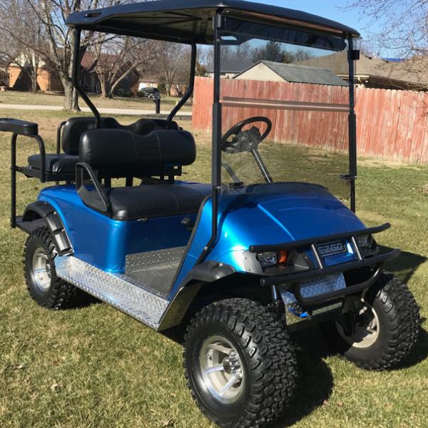 Blue-Bright-Metallic gloss solid color golf car wrap