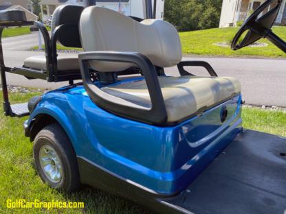 Blue-Bright-Metallic-Gloss-full-body-wrap-on-Yamaha-golf-car