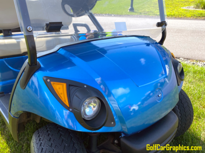 Blue-Bright-Metallic-Gloss-full-body-wrap-on-Yamaha-golf-cart