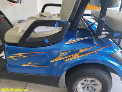 3D golf car decal set Daisy design in Yellow Combo