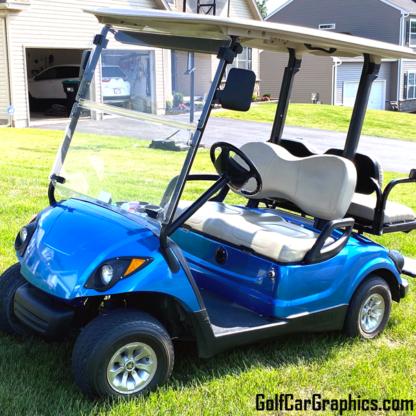Golf-cart-wrap-Blue-Bright-Metallic-Gloss-full-body-wrap-on-Yamaha-golf-car