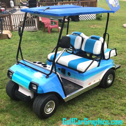 Tropical-Beach-Full-Body-Golf-Car-wrap-kit-produced-in-pre-cut-panels-for-easy-applicaiton