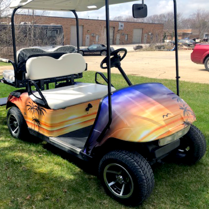 Hawaii-Sunset full body golf car wrap kit covers the complete body