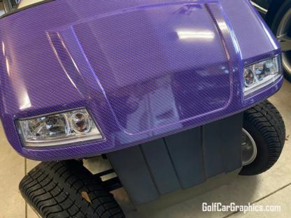 Purple---Black-Carbon-Fiber-full-body-golf-car-wrap universal fit for all standard size golf cars